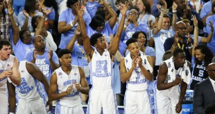 Apr 2, 2016; Houston, TX, USA; North Carolina Tar Heels players react from the bench during the second half against the Syracuse Orange in the 2016 NCAA Men's Division I Championship semi-final game at NRG Stadium. North Carolina won 83-66. Mandatory Credit: Troy Taormina-USA TODAY Sports