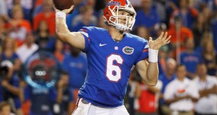 Oct 18, 2014; Gainesville, FL, USA; Florida Gators quarterback Jeff Driskel (6) throws the ball during the second half against the Missouri Tigers at Ben Hill Griffin Stadium. Missouri Tigers defeated the Florida Gators 42-13. Mandatory Credit: Kim Klement-USA TODAY Sports