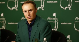 Apr 12, 2015; Augusta, GA, USA; Jordan Spieth at a press conference after winning The Masters golf tournament at Augusta National Golf Club. Mandatory Credit: Rob Schumacher-USA TODAY Sports