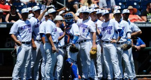 Jun 19, 2015; Omaha, NE, USA; The Florida Gators await the start of the game against the Virginia Cavaliers in the 2015 College World Series at TD Ameritrade Park. Mandatory Credit: Steven Branscombe-USA TODAY Sports