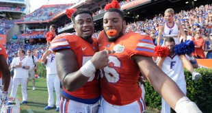 Nov 7, 2015; Gainesville, FL, USA; Florida Gators defensive lineman Caleb Brantley (57) and defensive lineman Cece Jefferson (96) celebrate as they beat the Vanderbilt Commodores at Ben Hill Griffin Stadium. Florida Gators defeated the Vanderbilt Commodores 9-7. Mandatory Credit: Kim Klement-USA TODAY Sports