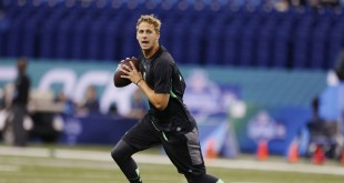 Feb 27, 2016; Indianapolis, IN, USA; California Golden Bears quarterback Jared Goff throws a pass during the 2016 NFL Scouting Combine at Lucas Oil Stadium. Mandatory Credit: Brian Spurlock-USA TODAY Sports
