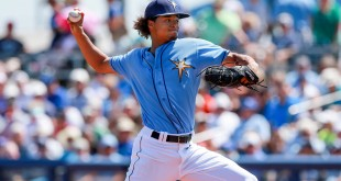 Mar 9, 2016; Port Charlotte, FL, USA; Tampa Bay Rays starting pitcher Chris Archer (22) throws a pitch during the first inning against the Toronto Blue Jays at Charlotte Sports Park. Mandatory Credit: Kim Klement-USA TODAY Sports
