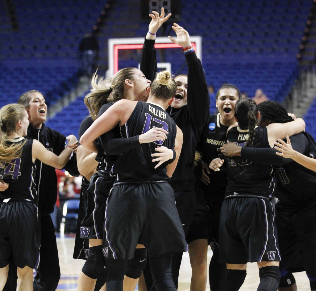 Mar 27, 2016; Lexington, KY, USA; Washington Huskies players celebrate after the game against the Stanford Cardinal in the finals of the Lexington regional of the women's NCAA Tournament at Rupp Arena. Washington defeated Stanford 85-76. Mandatory Credit: Mark Zerof-USA TODAY Sports