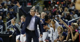 Mar 28, 2016; Bridgeport, CT, USA; Connecticut Huskies head coach Geno Auriemma signals from the sideline as they take on the Texas Longhorns during the second half in the finals of the Bridgeport regional of the women's NCAA Tournament at Webster Bank Arena. UConn defeated Texas 86-65. Mandatory Credit: David Butler II-USA TODAY Sports