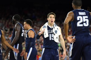 Apr 2, 2016; Houston, TX, USA; Villanova Wildcats guard Ryan Arcidiacono (15) reacts with guard Mikal Bridges (25) in the second half against the Oklahoma Sooners in the 2016 NCAA Men's Division I Championship semi-final game at NRG Stadium. Mandatory Credit: Robert Deutsch-USA TODAY Sports
