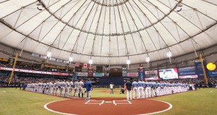 Apr 3, 2016; St. Petersburg, FL, USA; A general view of Tropicana Field as the Tampa Bay Rays and Toronto Blue Jays line up for the national anthem. Mandatory Credit: Kim Klement-USA TODAY Sports