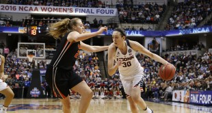 Apr 3, 2016; Indianapolis, IN, USA; Connecticut Huskies forward Breanna Stewart (30) dribbles the ball as Oregon State Beavers center Marie Gulich (21) defends during the second quarter at Bankers Life Fieldhouse. Mandatory Credit: Brian Spurlock-USA TODAY Sports