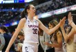 Apr 3, 2016; Indianapolis, IN, USA; Connecticut Huskies forward Breanna Stewart (30) celebrates with the bench after leaving the game during the fourth quarter against the Oregon State Beavers at Bankers Life Fieldhouse. The Huskies won 80-51. Mandatory Credit: Thomas J. Russo-USA TODAY Sports