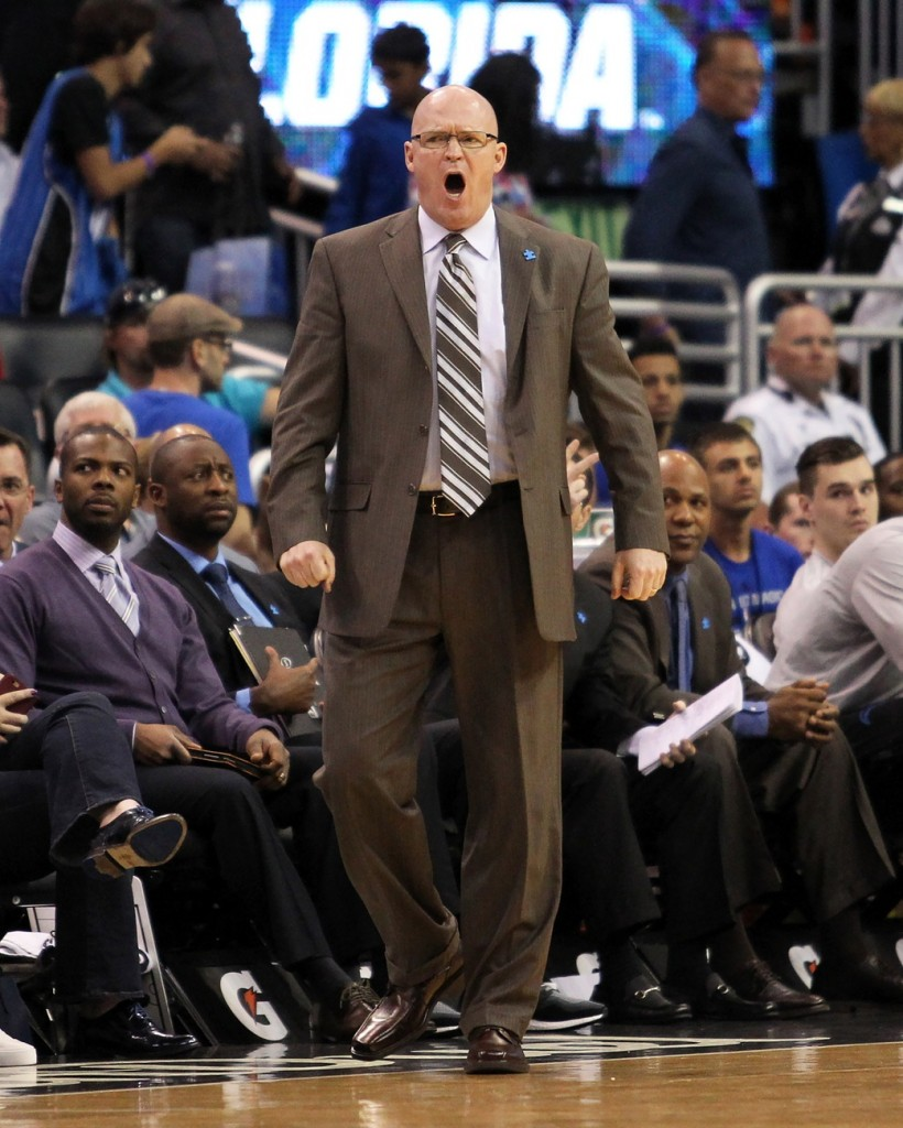 Apr 3, 2016; Orlando, FL, USA; Orlando Magic head coach Scott Skiles yells from the bench in the fourth quarter against the Memphis Grizzlies at Amway Center. The Orlando Magic won 119-107. Mandatory Credit: Logan Bowles-USA TODAY Sports