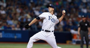 Apr 4, 2016; St. Petersburg, FL, USA; Tampa Bay Rays starting pitcher Drew Smyly (33) throws a pitch during the fifth inning against the Toronto Blue Jays at Tropicana Field. Mandatory Credit: Kim Klement-USA TODAY Sports