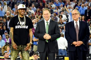 Apr 4, 2016; Houston, TX, USA; Basketball hall of fame inductees Allen Iverson, Tom Izzo and Jerry Reinsdorf during halftime of the championship game of the 2016 NCAA Men's Final Four between the Villanova Wildcats and the North Carolina Tar Heels at NRG Stadium. Mandatory Credit: Bob Donnan-USA TODAY Sports