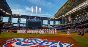 Apr 4, 2016; Phoenix, AZ, USA; Fireworks go off during the national anthem prior to the Arizona Diamondbacks game against the Colorado Rockies during Opening Day at Chase Field. Mandatory Credit: Mark J. Rebilas-USA TODAY Sports
