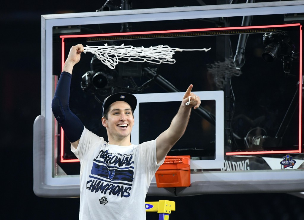 Apr 4, 2016; Houston, TX, USA; Villanova Wildcats guard Ryan Arcidiacono celebrates after cutting down the net after defeating the North Carolina Tar Heels in the championship game of the 2016 NCAA Men's Final Four at NRG Stadium. Mandatory Credit: Robert Deutsch-USA TODAY Sports