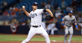 Apr 5, 2016; St. Petersburg, FL, USA; Tampa Bay Rays starting pitcher Jake Odorizzi (23) throws a pitch during the first inning against the Toronto Blue Jays  at Tropicana Field. Mandatory Credit: Kim Klement-USA TODAY Sports