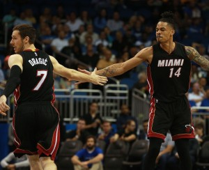Apr 8, 2016; Orlando, FL, USA; Miami Heat forward Gerald Green (14) celebrates with guard Goran Dragic (7) against the Orlando Magic during the first quarter at Amway Center. Mandatory Credit: Kim Klement-USA TODAY Sports