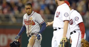 Apr 11, 2016; Washington, DC, USA; Atlanta Braves center fielder Mallex Smith (17) walks off the field after being called out during fourth inning against the Washington Nationals at Nationals Park. Smith was injured on the play and left game. Washington Nationals defeated Atlanta Braves 6-4. Mandatory Credit: Tommy Gilligan-USA TODAY Sports