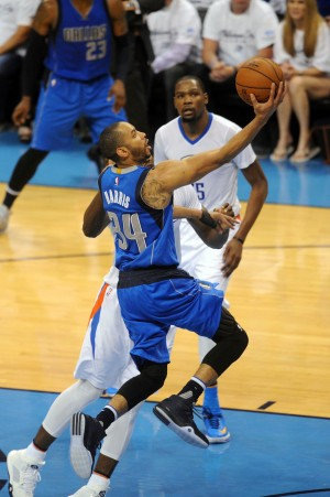 Apr 18, 2016; Oklahoma City, OK, USA; Dallas Mavericks guard Devin Harris (34) shoots the ball in front of Oklahoma City Thunder forward Serge Ibaka (9) during the fourth quarter in game two of the first round of the NBA Playoffs at Chesapeake Energy Arena. Mandatory Credit: Mark D. Smith-USA TODAY Sports