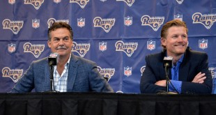 Apr 14, 2016; Oxnard, CA, USA; Los Angeles Rams coach Jeff Fisher (left) and general manager Les Snead speak at press conference at the Residence Inn Oxnard River Ridge. Mandatory Credit: Kirby Lee-USA TODAY Sports