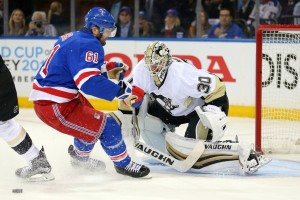 Pittsburgh Penguins goalie Matt Murray (30) makes a save against New York Rangers left wing Rick Nash (61) during the second period of game three of the first round of the 2016 Stanley Cup Playoffs at Madison Square Garden. Mandatory Credit: Brad Penner-USA TODAY Sports