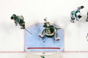 Apr 20, 2016; Saint Paul, MN, USA; Dallas Stars forward Patrick Eaves (18) celebrates his goal in the second period against the Minnesota Wild goalie Devan Dubnyk (40) in game four of the first round of the 2016 Stanley Cup Playoffs at Xcel Energy Center. The Dallas Stars beat the Minnesota Wild 3-2. Mandatory Credit: Brad Rempel-USA TODAY Sports