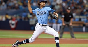 Apr 3, 2016; St. Petersburg, FL, USA; Tampa Bay Rays starting pitcher Chris Archer (22) throws a pitch during the first inning against the Toronto Blue Jays at Tropicana Field. Mandatory Credit: Kim Klement-USA TODAY Sports