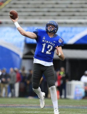 Dec 30, 2015; Birmingham, AL, USA; Memphis Tigers quarterback Paxton Lynch (12) passes against Auburn Tigersa in the 2015 Birmingham Bowl at Legion Field. Mandatory Credit: Marvin Gentry-USA TODAY Sports