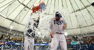 Apr 6, 2016; St. Petersburg, FL, USA; Tampa Bay Rays right fielder Steven Souza Jr. (20) gets dumped with water by pitcher Chris Archer (22) after they beat the Toronto Blue Jays at Tropicana Field. Tampa Bay Rays defeated the Toronto Blue Jays 5-3. Souza had 2 home runs. Mandatory Credit: Kim Klement-USA TODAY Sports