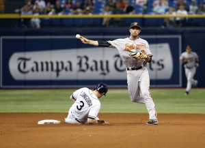 Apr 25, 2016; St. Petersburg, FL, USA; Baltimore Orioles shortstop J.J. Hardy (2) forces out Tampa Bay Rays third baseman Evan Longoria (3) and throws the ball to first for a double play during the seventh inning at Tropicana Field. Tampa Bay Rays defeated the Baltimore Orioles 2-0. Mandatory Credit: Kim Klement-USA TODAY Sports