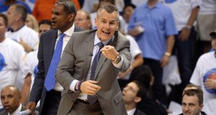May 24, 2016; Oklahoma City, OK, USA; Oklahoma City Thunder head coach Billy Donovan reacts to a call during action against the Golden State Warriors during the third quarter in game four of the Western conference finals of the NBA Playoffs at Chesapeake Energy Arena. Mandatory Credit: Mark D. Smith-USA TODAY Sports