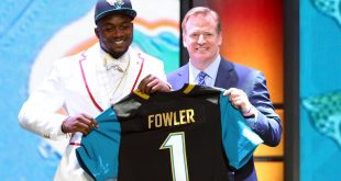 Apr 30, 2015; Chicago, IL, USA; Dante Fowler, Jr (Florida) greets NFL commissioner Roger Goodell is selected by the Jacksonville Jaguars as the number three overall pick in the first round of the 2015 NFL Draft at the Auditorium Theatre of Roosevelt University. Mandatory Credit: Jerry Lai-USA TODAY Sports