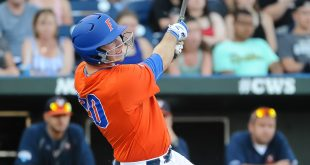 Jun 20, 2015; Omaha, NE, USA; Florida Gators infielder Peter Alonso (20) hits a two run home run in the second inning against the Virginia Cavaliers in the 2015 College World Series at TD Ameritrade Park. Mandatory Credit: Steven Branscombe-USA TODAY Sports