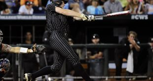 Jun 22, 2015; Omaha, NE, USA; Vanderbilt Commodores third baseman Will Toffey (10) hits a two run double during the sixth inning against the Virginia Cavaliers in game one of the College World Series Finals at TD Ameritrade Park. Mandatory Credit: Steven Branscombe-USA TODAY Sports