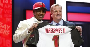 Apr 28, 2016; Chicago, IL, USA; Vernon Hargreaves III (Florida) with NFL commissioner Roger Goodell after being selected by the Tampa Bay Buccaneers as the number eleven overall pick in the first round of the 2016 NFL Draft at Auditorium Theatre. Mandatory Credit: Kamil Krzaczynski-USA TODAY Sports