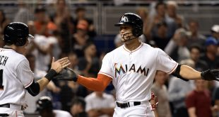 May 6, 2016; Miami, FL, USA; Miami Marlins right fielder Giancarlo Stanton (right) is greeted by  Marlins left fielder Christian Yelich (left) at home plate after driving in Yelich on a two run home run during the eighth inning against the Philadelphia Phillies at Marlins Park. The Marlins won 6-4. Mandatory Credit: Steve Mitchell-USA TODAY Sports