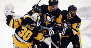 May 10, 2016; Pittsburgh, PA, USA; Pittsburgh Penguins goalie Matt Murray (30) and right wing Patric Hornqvist (72) and defenseman Brian Dumoulin (8) and defenseman Trevor Daley (6) celebrate their overtime win against the Washington Capitals in game six of the second round of the 2016 Stanley Cup Playoffs at the CONSOL Energy Center. The Pens won 4-3 in overtime to win the series 4 games to 2. Mandatory Credit: Charles LeClaire-USA TODAY Sports