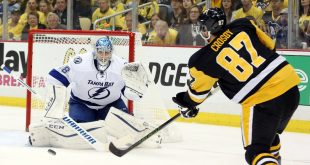May 16, 2016; Pittsburgh, PA, USA; Tampa Bay Lightning goalie Andrei Vasilevskiy (88) prepares to make a save against Pittsburgh Penguins center Sidney Crosby (87) during the third period in game two of the Eastern Conference Final of the 2016 Stanley Cup Playoffs at the CONSOL Energy Center. Mandatory Credit: Charles LeClaire-USA TODAY Sports