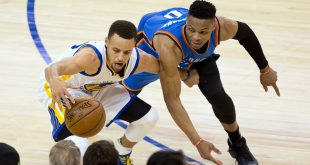 May 16, 2016; Oakland, CA, USA; Golden State Warriors guard Stephen Curry (30) battles for the ball against Oklahoma City Thunder guard Russell Westbrook (0) during the third quarter in game one of the Western conference finals of the NBA Playoffs at Oracle Arena. Mandatory Credit: Kelley L Cox-USA TODAY Sports