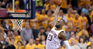 May 17, 2016; Cleveland, OH, USA; Cleveland Cavaliers forward LeBron James (23) slam dunks during the third quarter against the Toronto Raptors in game one of the Eastern conference finals of the NBA Playoffs at Quicken Loans Arena. The Cavs won 115-84. Mandatory Credit: Ken Blaze-USA TODAY Sports