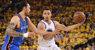May 18, 2016; Oakland, CA, USA; Golden State Warriors guard Stephen Curry (30) controls the basketball against Oklahoma City Thunder center Steven Adams (12) during the first quarter in game two of the Western conference finals of the NBA Playoffs at Oracle Arena. Mandatory Credit: Kyle Terada-USA TODAY Sports