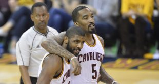 May 19, 2016; Cleveland, OH, USA; Cleveland Cavaliers guard Kyrie Irving (2) and guard J.R. Smith (5) celebrate in the fourth quarter against the Toronto Raptors in game two of the Eastern conference finals of the NBA Playoffs at Quicken Loans Arena. Mandatory Credit: David Richard-USA TODAY Sports