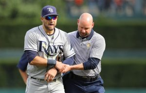 May 21, 2016; Detroit, MI, USA; Tampa Bay Rays center fielder Kevin Kiermaier (39) leaves the field after diving for a ball during the fifth inning of the game against the Detroit Tigers at Comerica Park. Mandatory Credit: Leon Halip-USA TODAY Sports