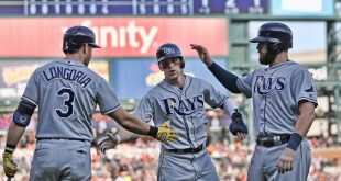 May 21, 2016; Detroit, MI, USA; Tampa Bay Rays left fielder Brandon Guyer (5) celebrates with teammates Evan Longoria (3)  and Curt Casali (19) and after scoring runs during the eight inning of the game against the Detroit Tigers at Comerica Park. Mandatory Credit: Leon Halip-USA TODAY Sports