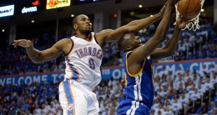 May 22, 2016; Oklahoma City, OK, USA; Golden State Warriors forward Draymond Green (23) shoots as Oklahoma City Thunder forward Serge Ibaka (9) defends during the third quarter in game three of the Western conference finals of the NBA Playoffs at Chesapeake Energy Arena. Mandatory Credit: Mark D. Smith-USA TODAY Sports