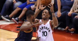 May 23, 2016; Toronto, Ontario, CAN;   Toronto Raptors guard DeMar DeRozan (10) controls a pass in front of Cleveland Cavaliers forward Tristan Thompson (13)  in game four of the Eastern conference finals of the NBA Playoffs at Air Canada Centre. Mandatory Credit: Dan Hamilton-USA TODAY Sports