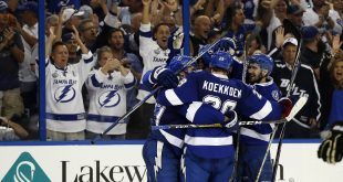 May 24, 2016; Tampa, FL, USA; Tampa Bay Lightning center Brian Boyle (11) is congratulated after he scored a goal against the Pittsburgh Penguins during the third period of game six of the Eastern Conference Final of the 2016 Stanley Cup Playoffs at Amalie Arena. Mandatory Credit: Kim Klement-USA TODAY Sports