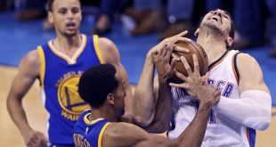 May 24, 2016; Oklahoma City, OK, USA; Oklahoma City Thunder center Enes Kanter (11) and Golden State Warriors guard Shaun Livingston (34) battle for the ball during the second half in game four of the Western conference finals of the NBA Playoffs at Chesapeake Energy Arena. Mandatory Credit: Kevin Jairaj-USA TODAY Sports