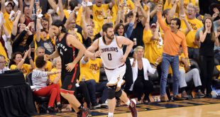 May 25, 2016; Cleveland, OH, USA; Cleveland Cavaliers forward Kevin Love (0) runs back down court after hitting a three-pointer against the Toronto Raptors during the second quarter in game five of the Eastern conference finals of the NBA Playoffs at Quicken Loans Arena. Mandatory Credit: Ken Blaze-USA TODAY Sports