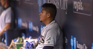 May 30, 2016; Kansas City, MO, USA; Tampa Bay Rays relief pitcher Erasmo Ramirez (30) watches after being pulled against the Kansas City Royals in the eighth inning at Kauffman Stadium. Kansas City won 6-2. Mandatory Credit: John Rieger-USA TODAY Sports