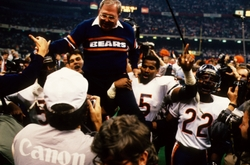 Jan 26, 1986; New Orleans, LA, USA; FILE PHOTO; Chicago Bears defensive coordinator Buddy Ryan gets a victory ride after the Chicago Bears defeated the New England Patriots in Super Bowl XX 46-10 at the Superdome. Mandatory Credit: Tony Tomsic-USA TODAY NETWORK